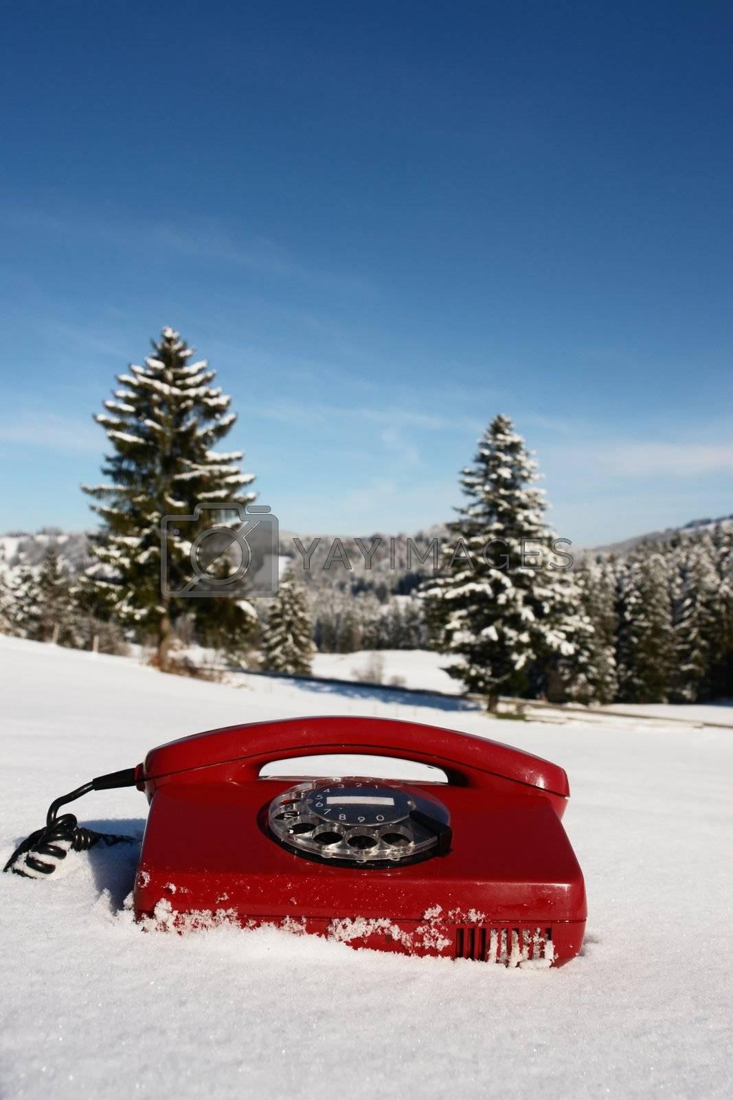 Santa Claus Hotline symbolized by a red retro phone