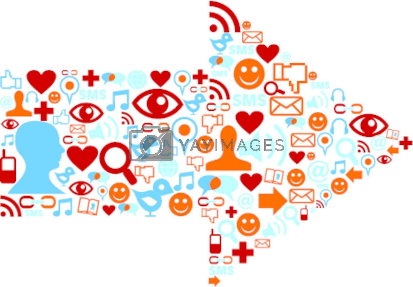 Social media icons set in arrow shape composition