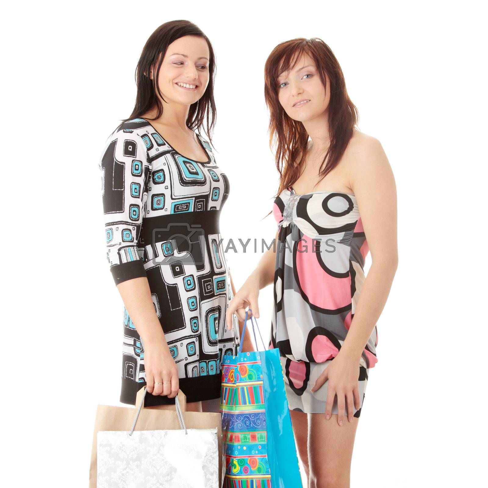 Shopping Women. Isolated over white background