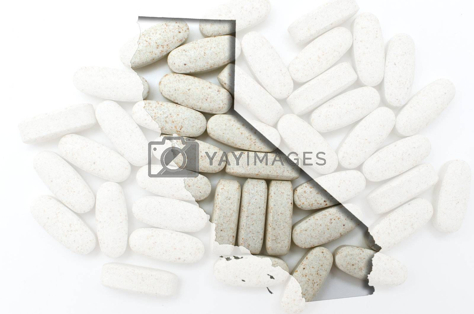 Outlined california map with transparent background of capsules