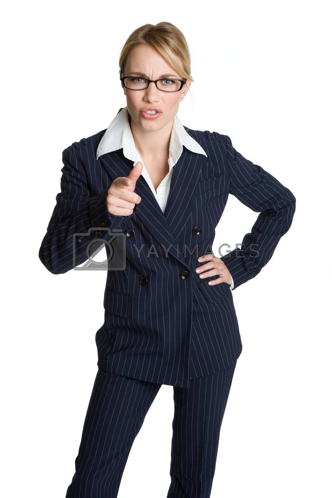 Isolated young angry businesswoman pointing