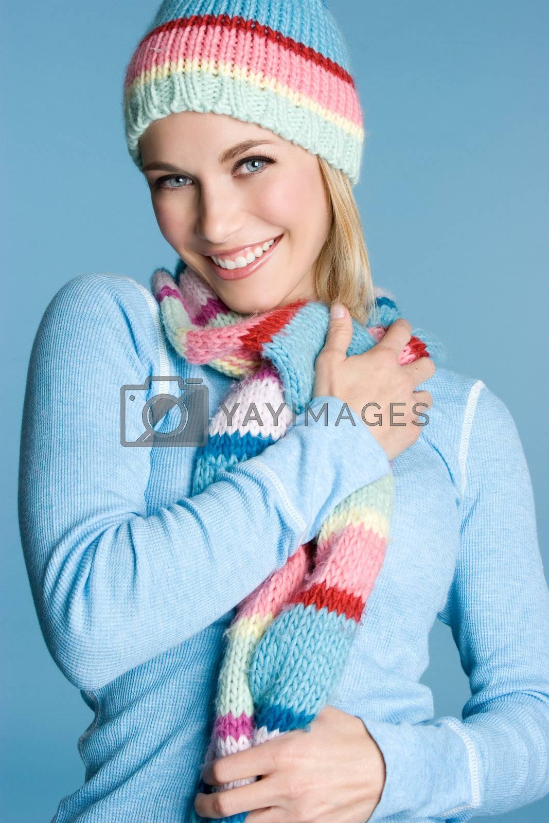 Beautiful smiling girl wearing scarf