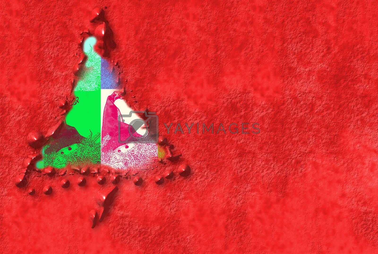Cards of Christmas tree with pictures of Santa Claus in a red background with copyspace