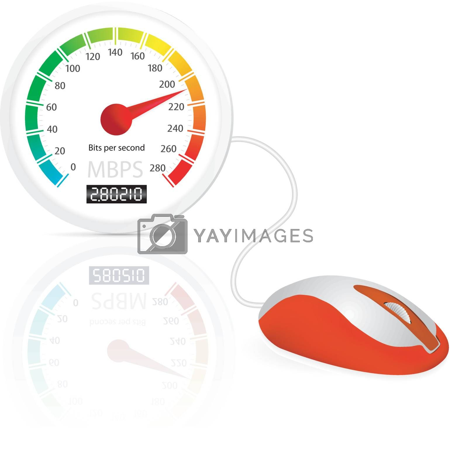 Computer mouse connected to a speedometer. High-speed internet concept vector illustration