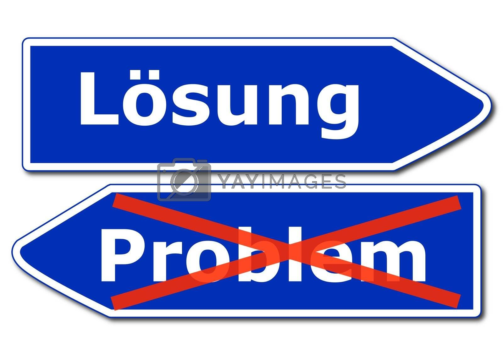 solution or problem concept with roadsign isolated on white background