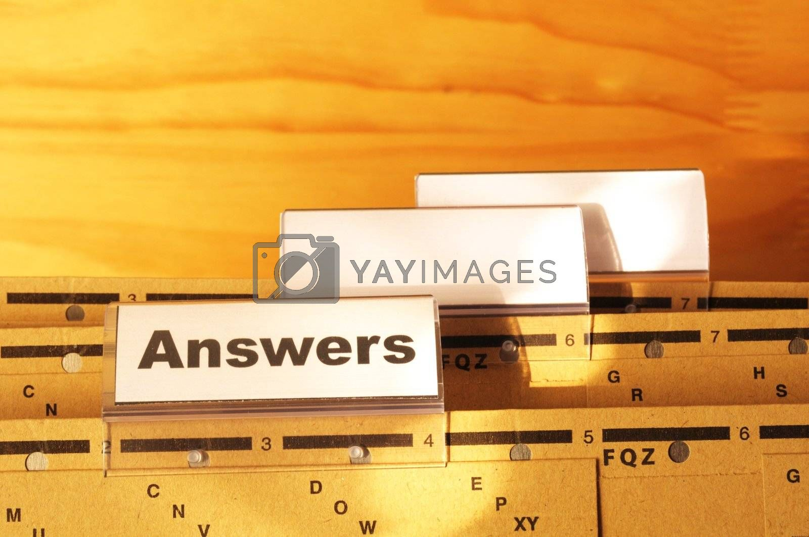 answers word on register or hanging folder showing solution concept