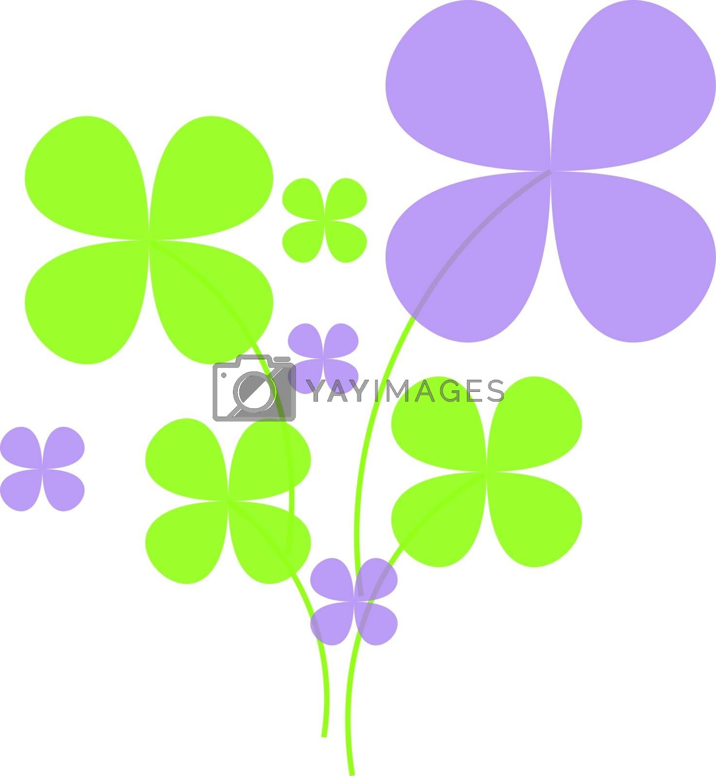Lucky green and lilac clovers on white background