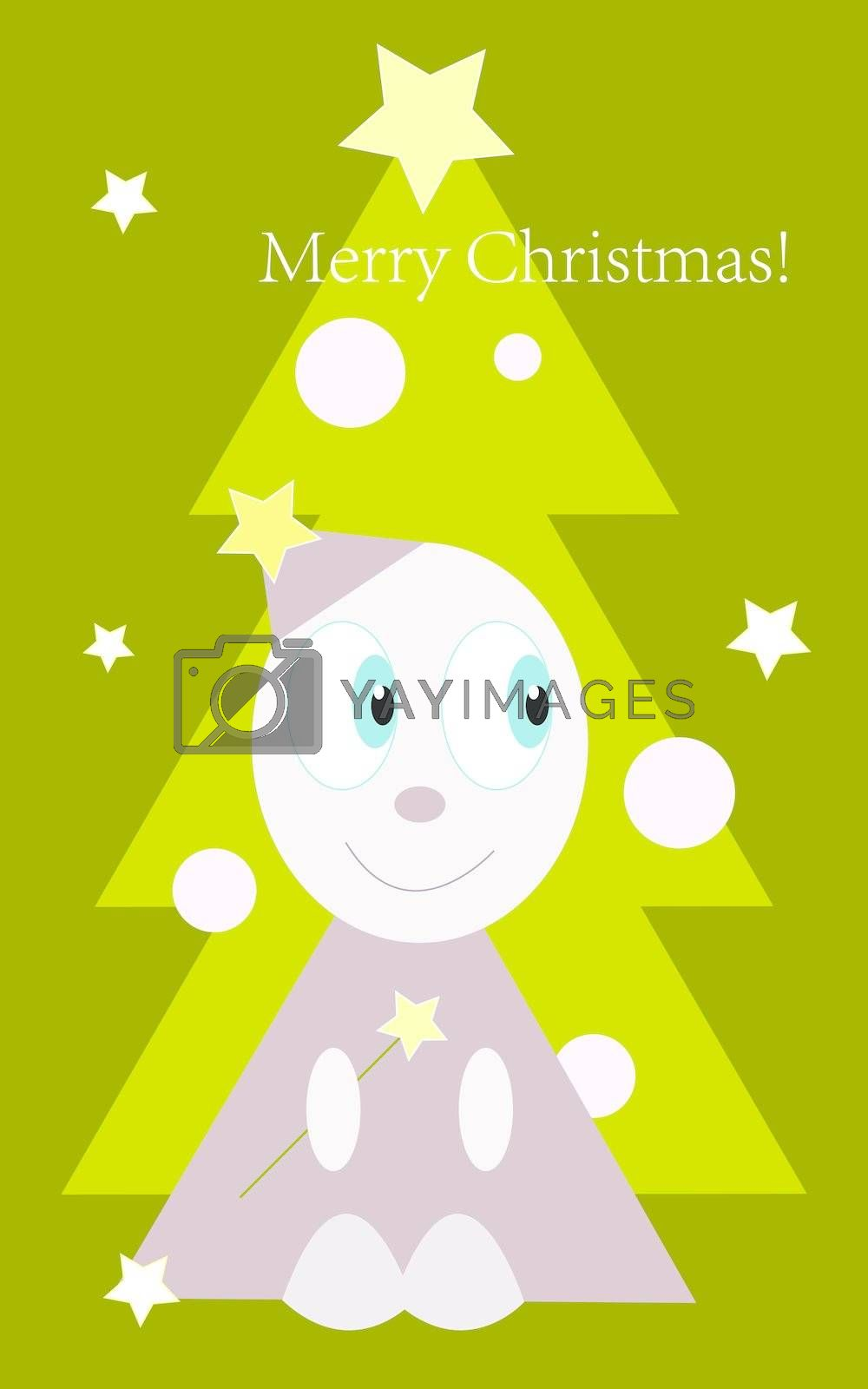 Funny little man on christmas tree background