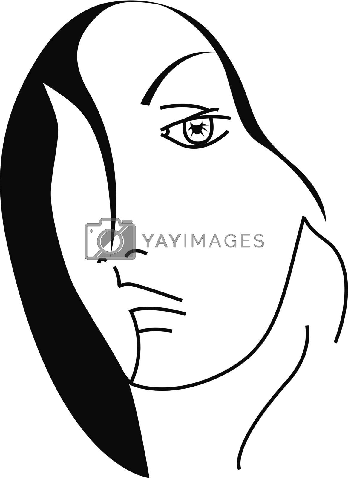 Vector illustration of Moon in black and white