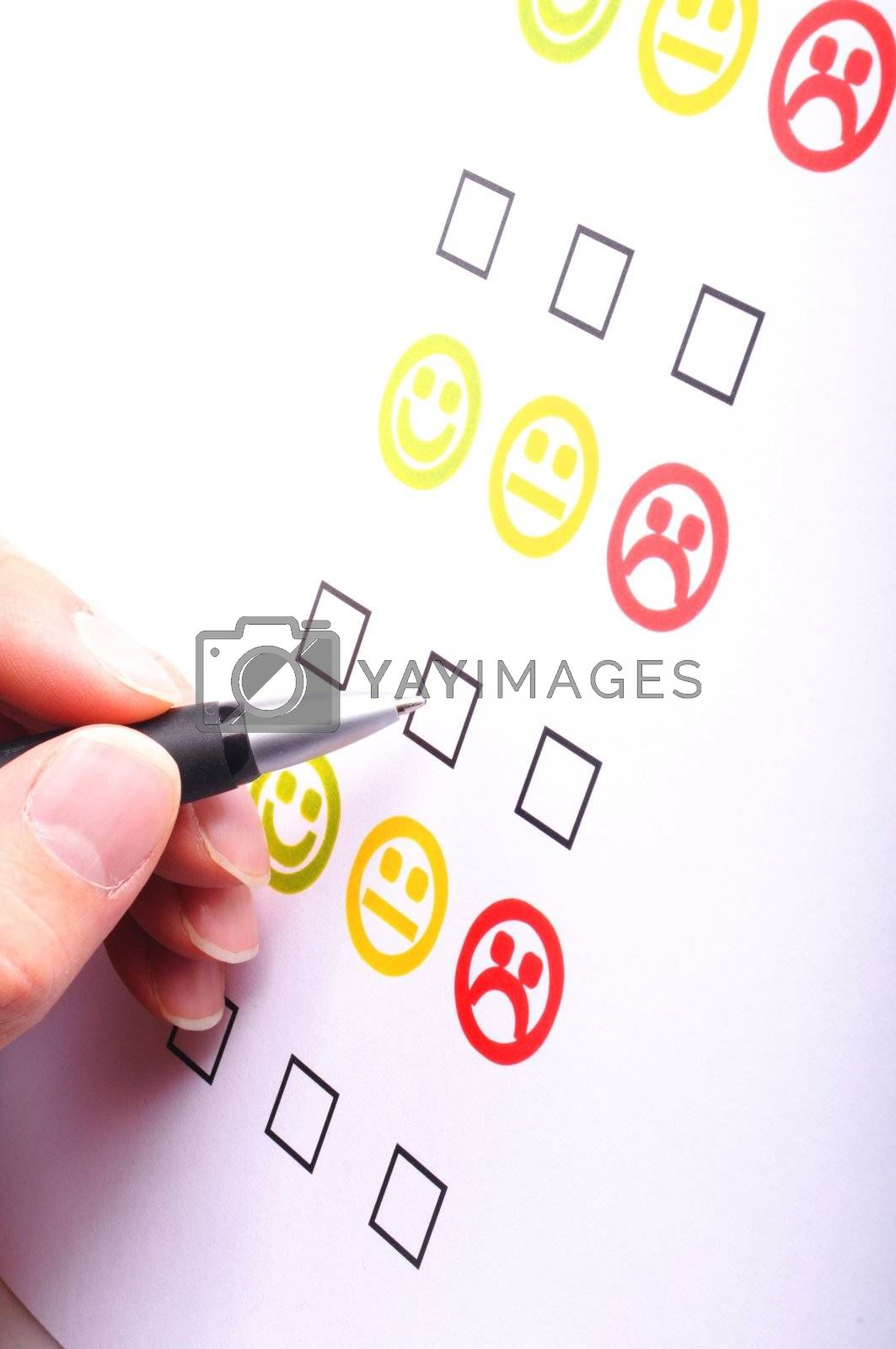 marketing interview with checkbox or tickbox and smilie