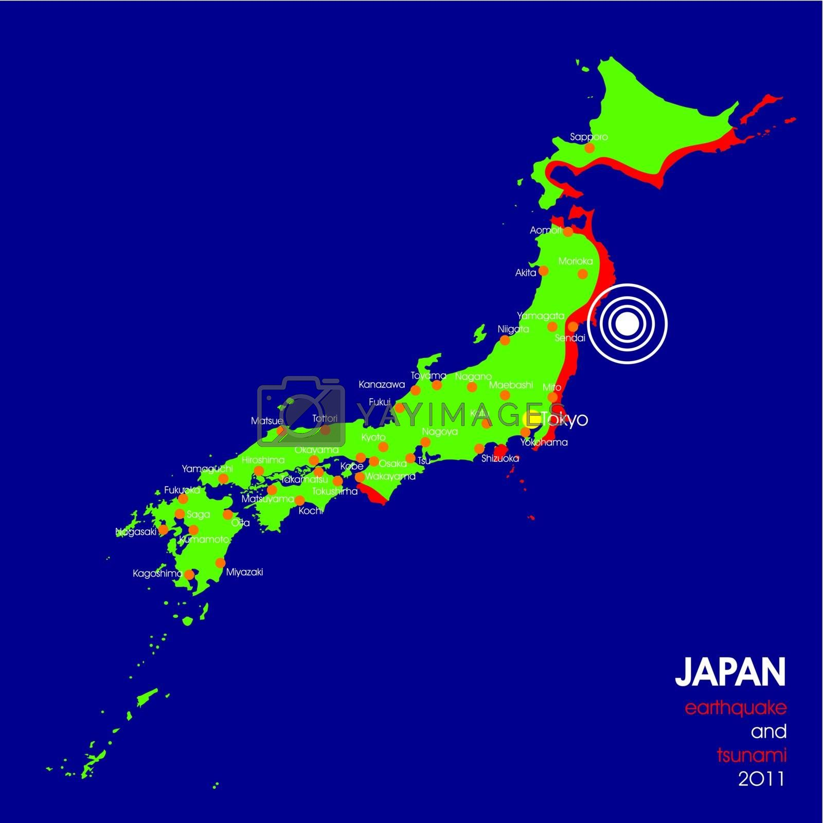 Detailed Japan earthquake map with epicenter