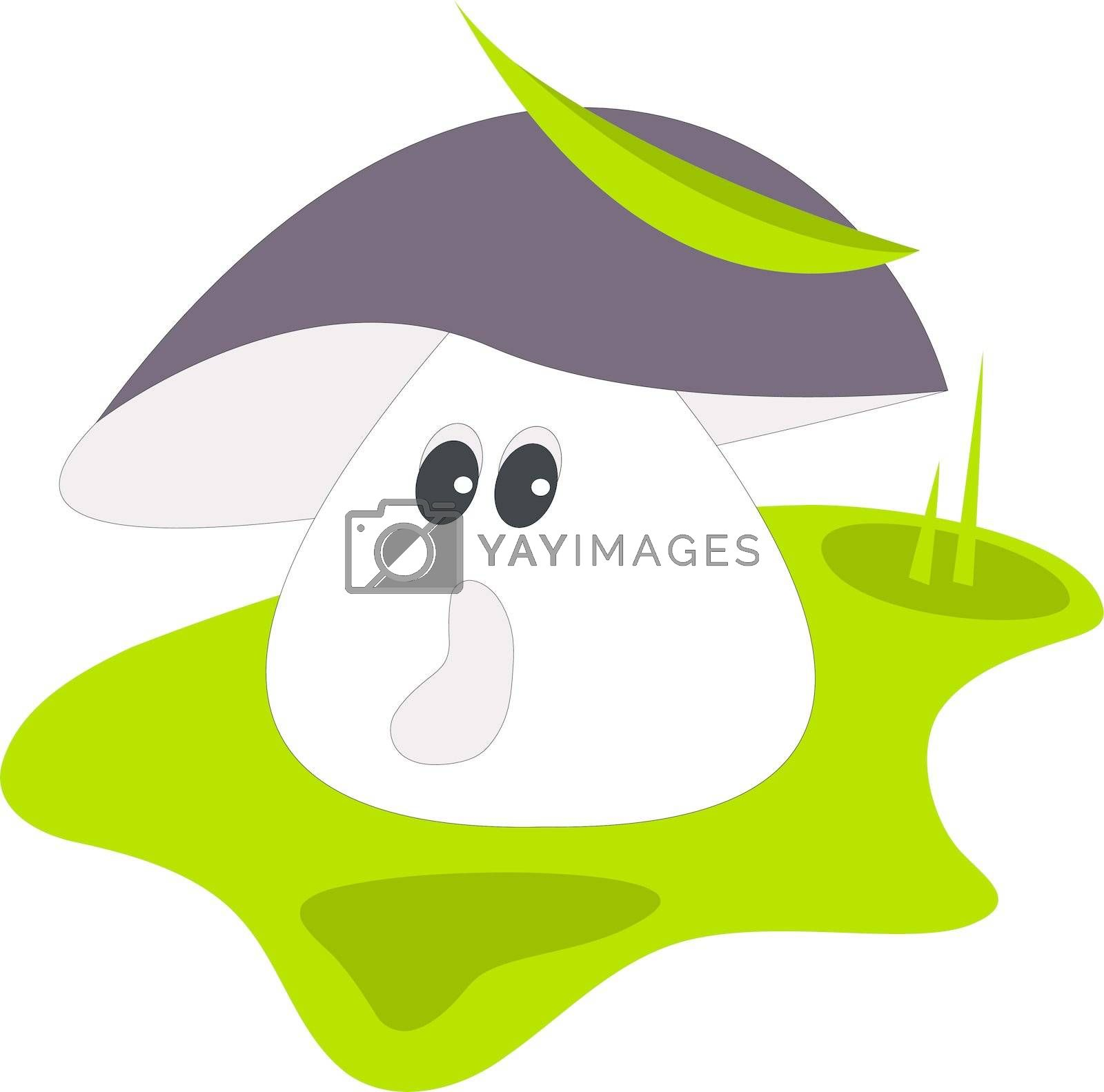 Vector illustration of frightened mushroom on meadow