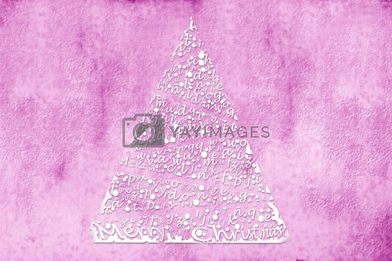 Winter Card Christmas tree illustration on pink background