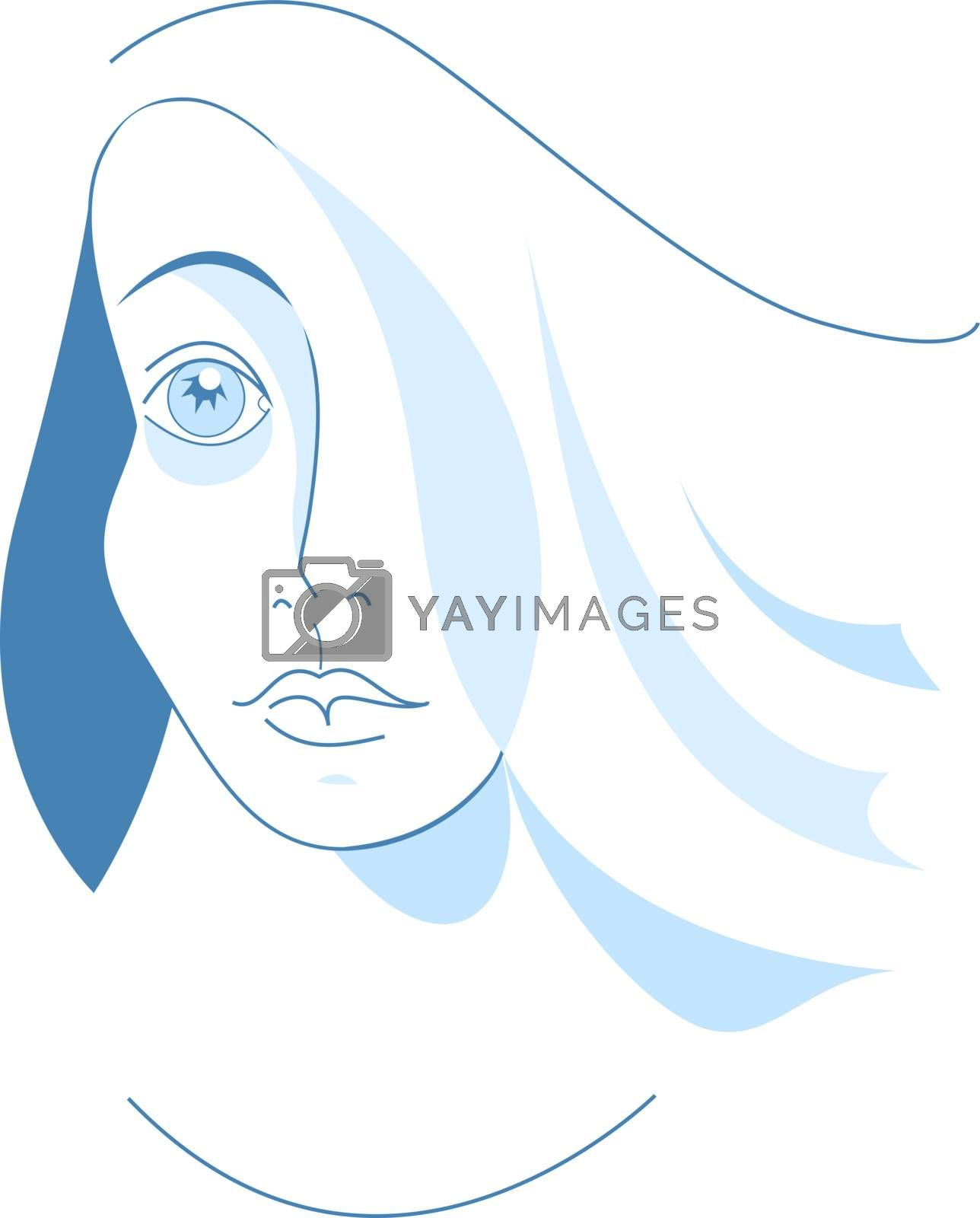 Vector illustration of Wave in blue and white