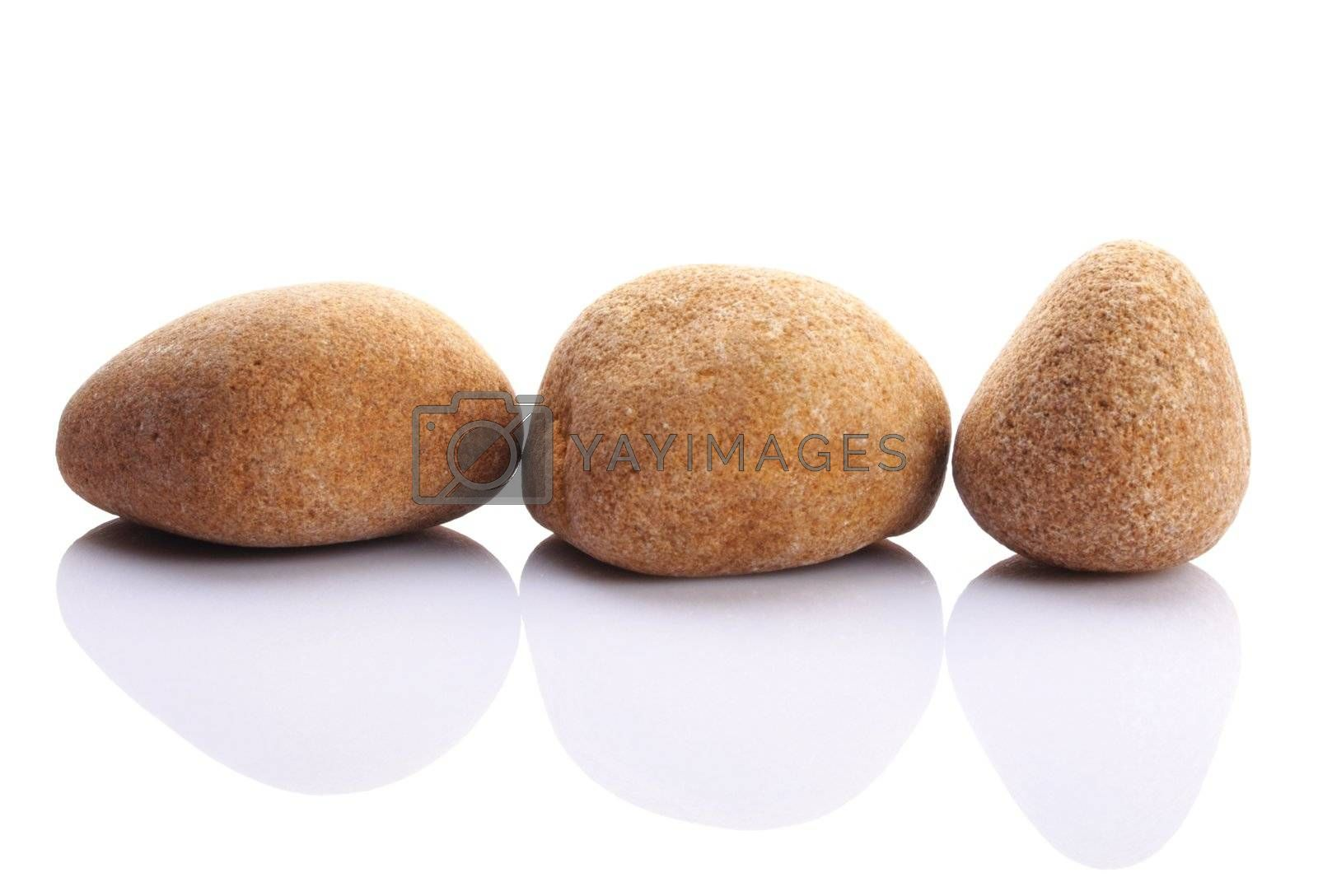 pebbles showing spa or zen stone garden concept isolated on white