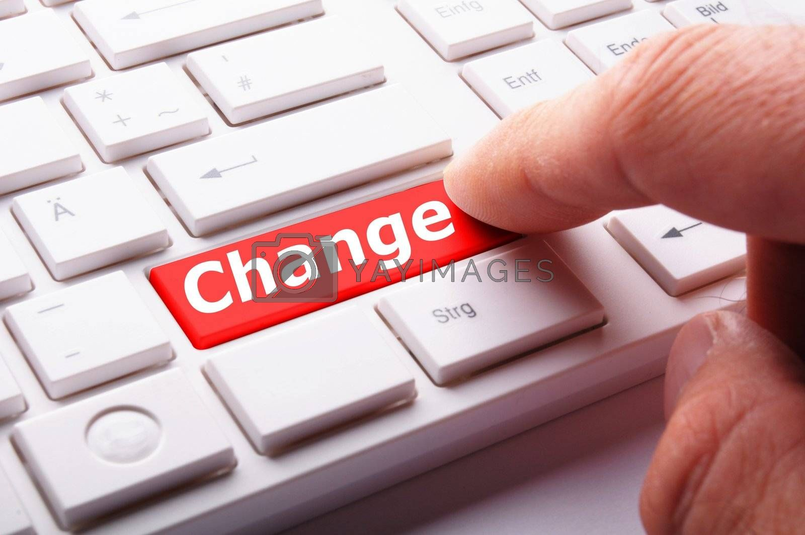 change concept with key on keyboard showing business success