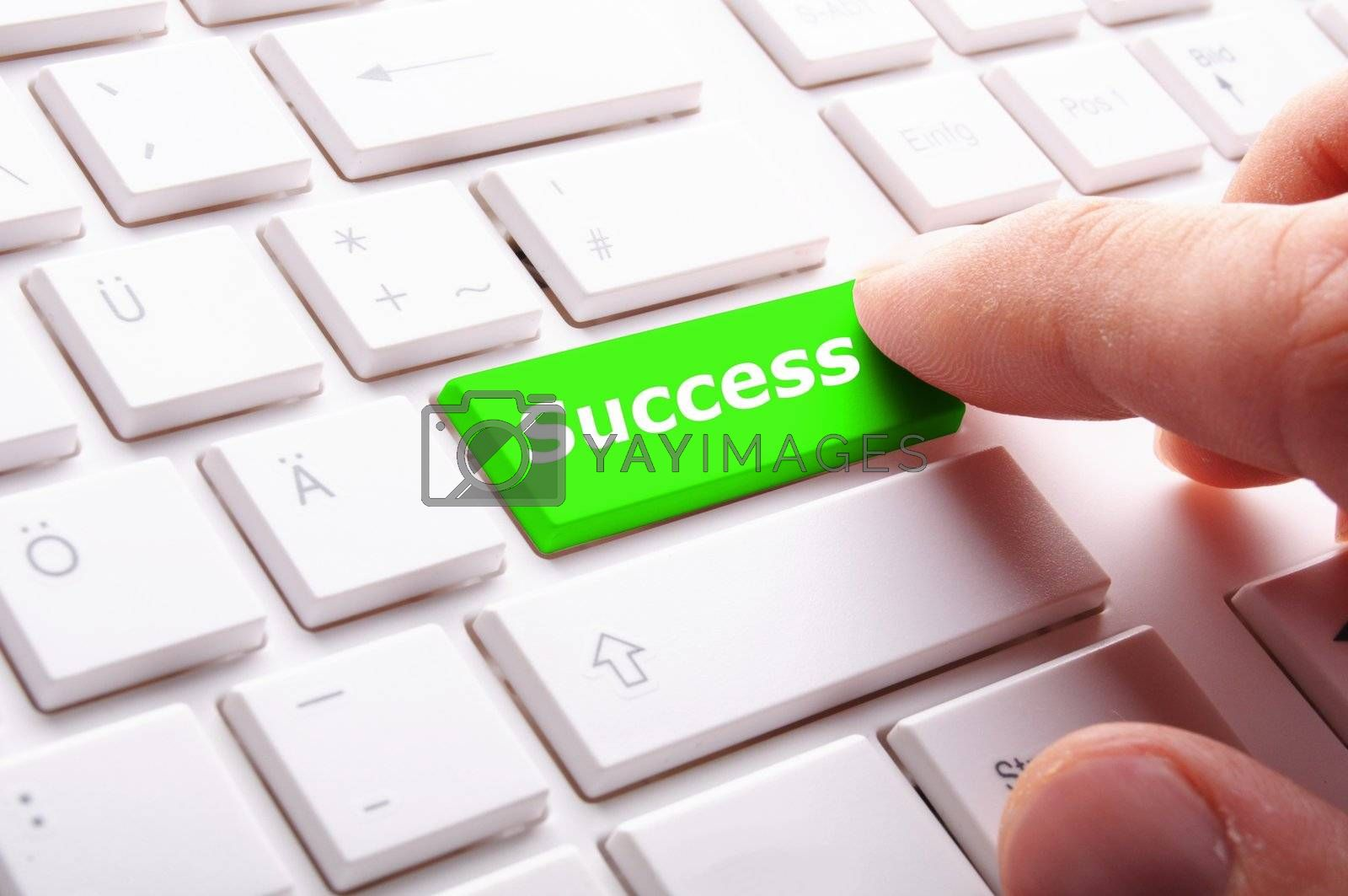 success word on button or key showing motivation for job or business