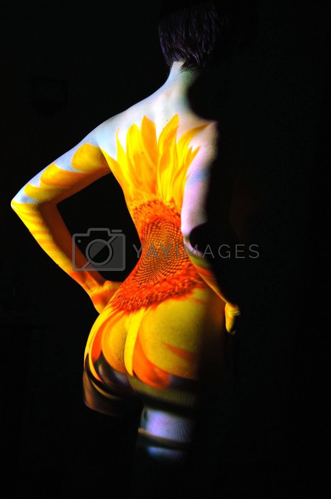 Projection of Leafs Texture on Woman Body