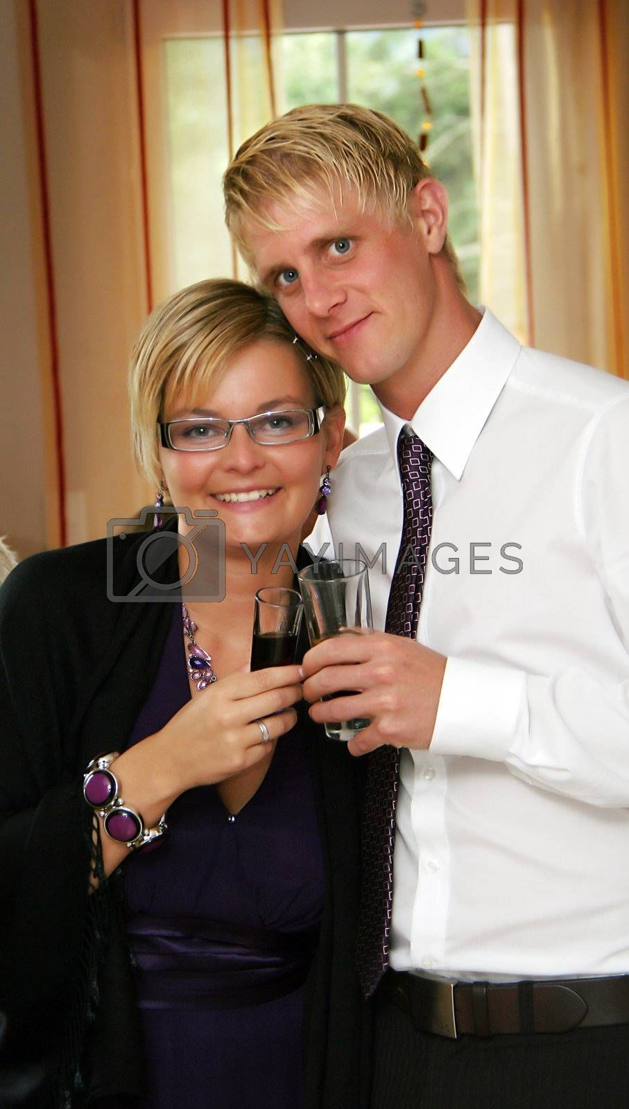 Couple in love with something to drink