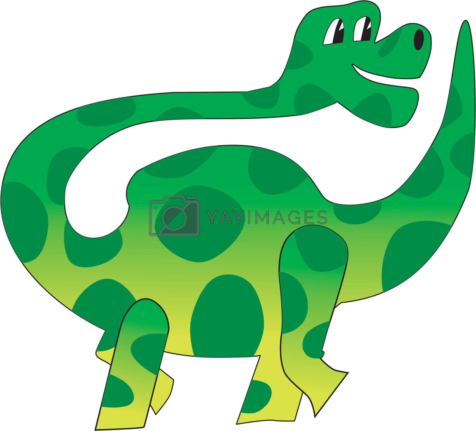 Funny character little dinosaur in cartoon style