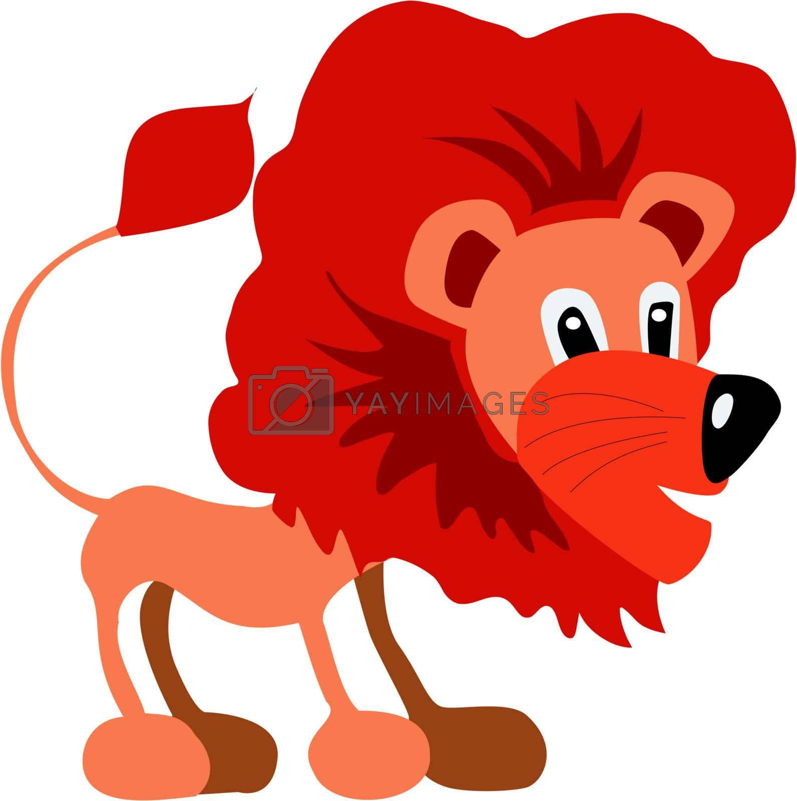 Funny character little lion in cartoon style