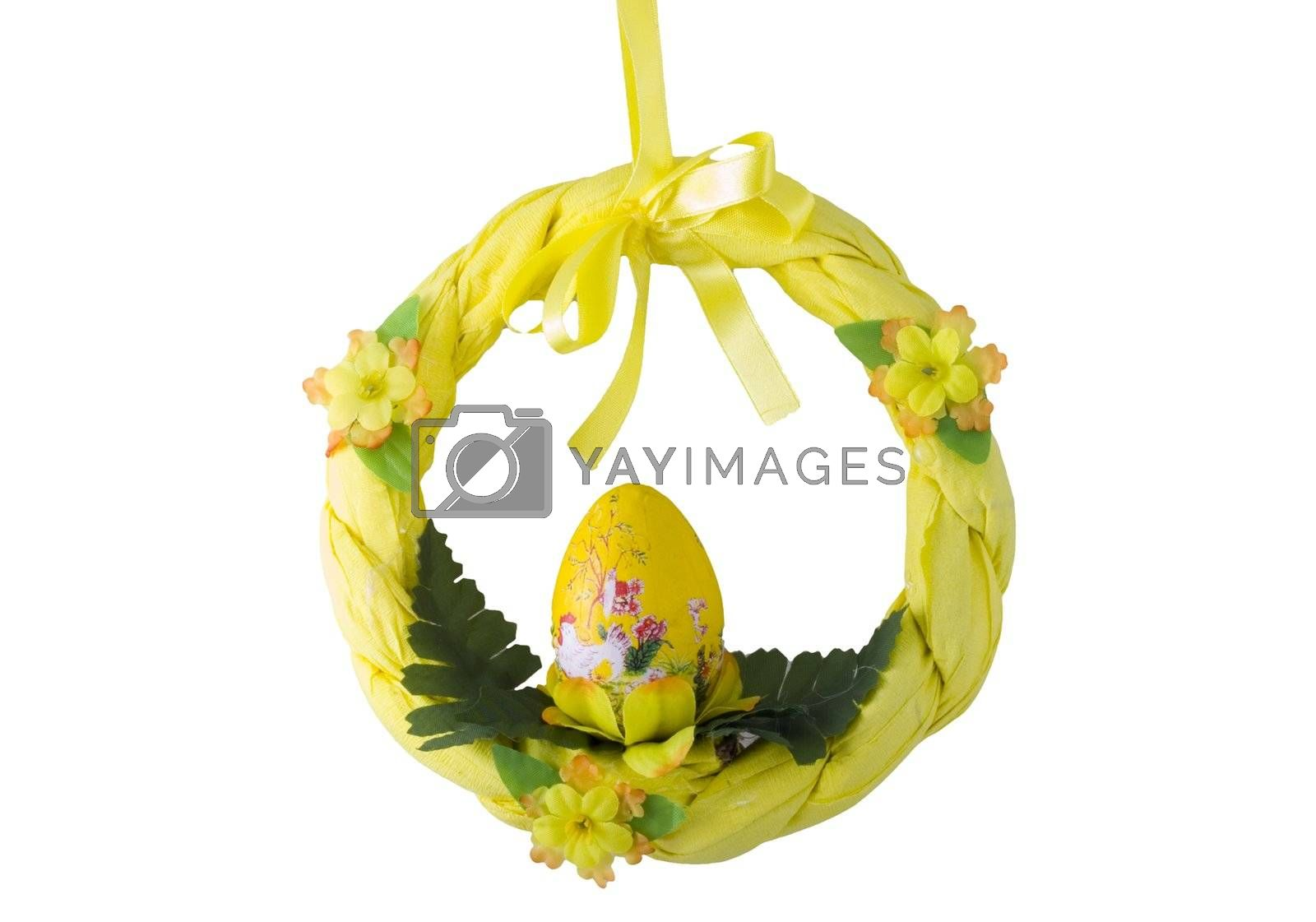 a yellow easter wreath isolated on the white background