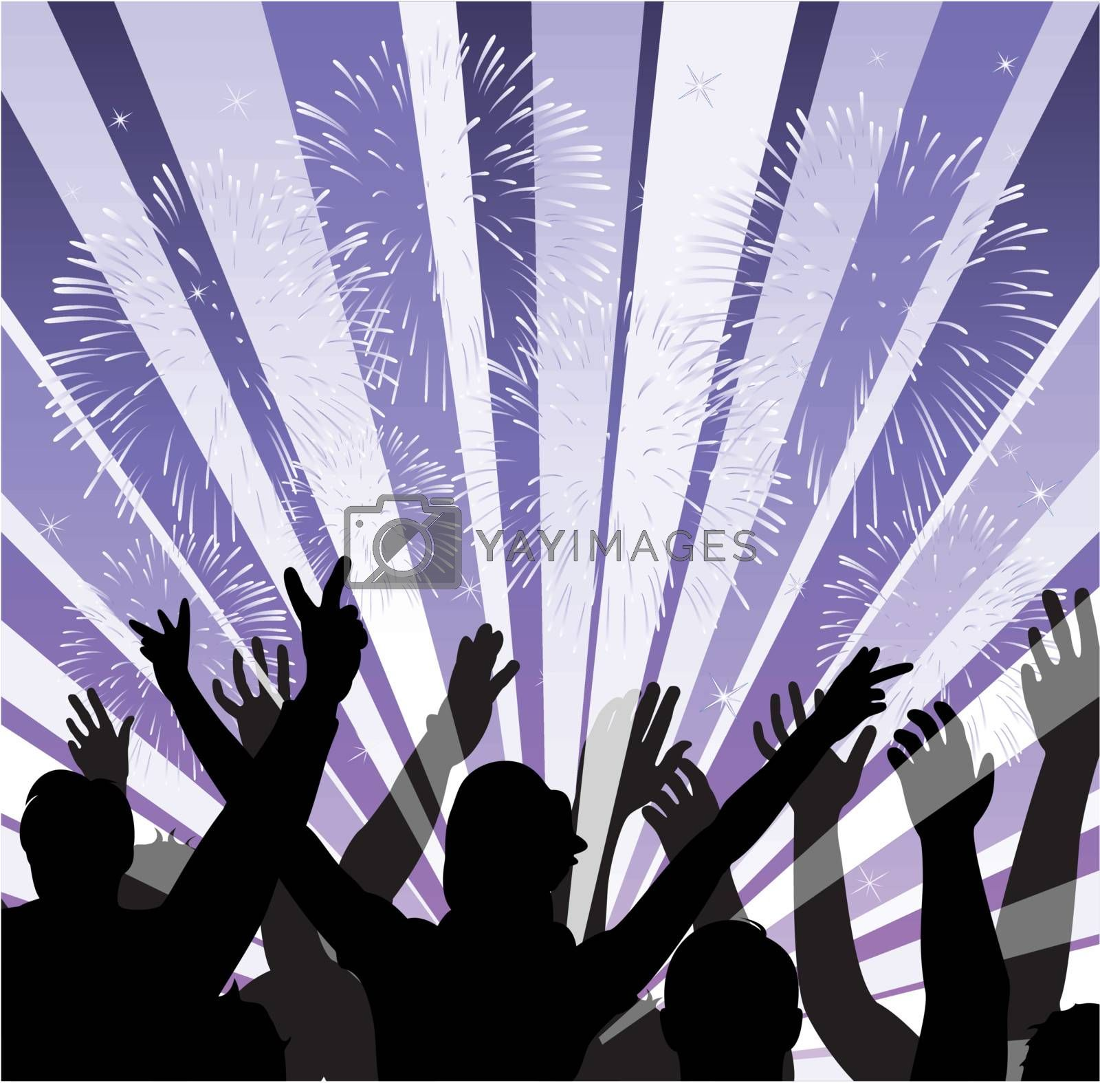 vector illustration of fireworks with silhouettes of happy people