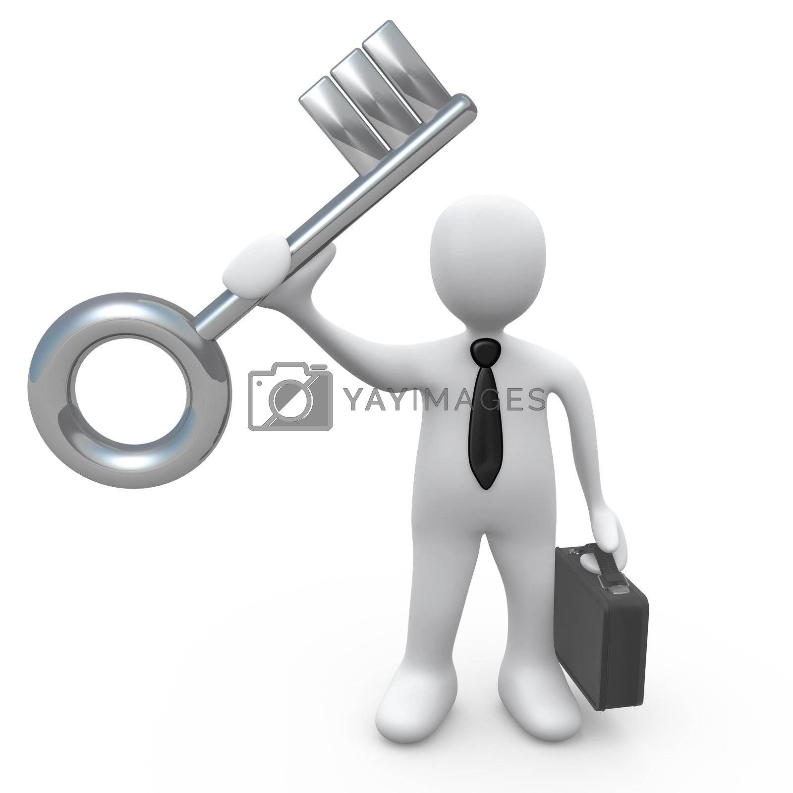 Business person holding a large key. Metaphor for solution or success.