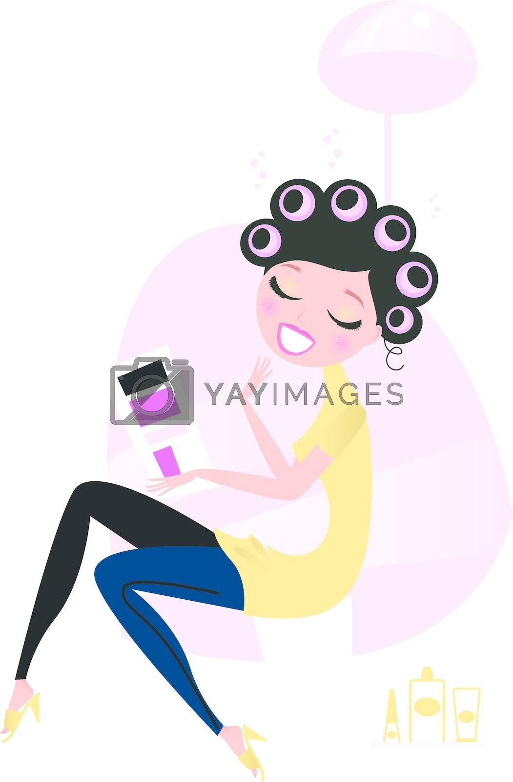 Cute beautiful female sitting in hair salon and reading magazine. Vector cartoon illustration.