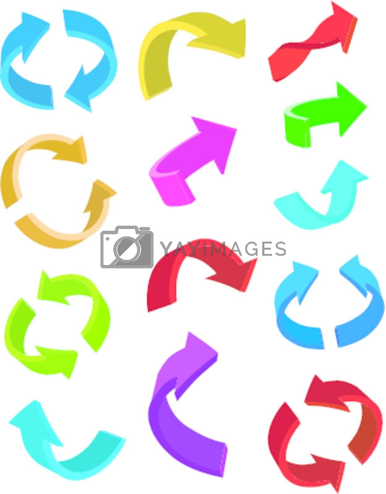 Set of glossy arrow icons for web design on white background
