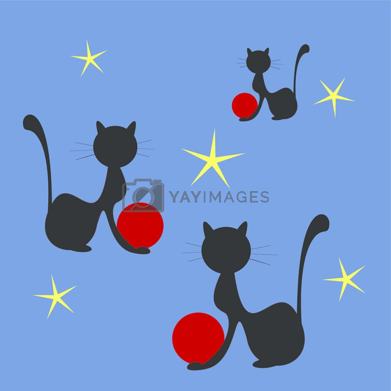 Shapes of black cats playing with red balls on dark blue background with yellow stars