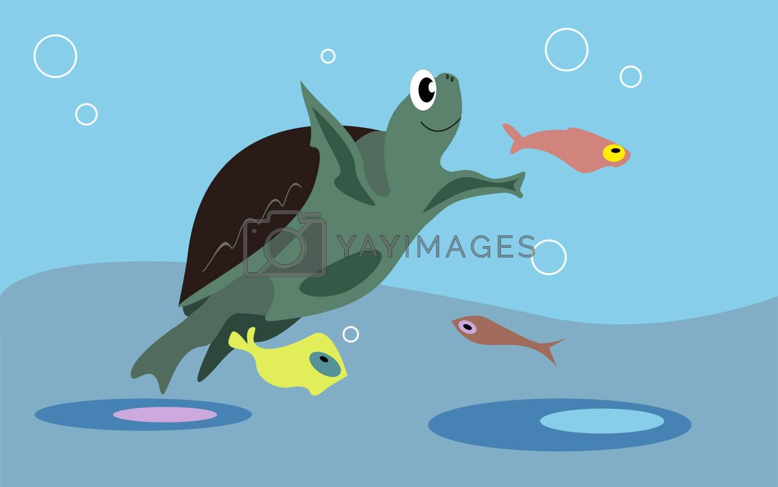 Smiling turtle and colorful fishes in the ocean