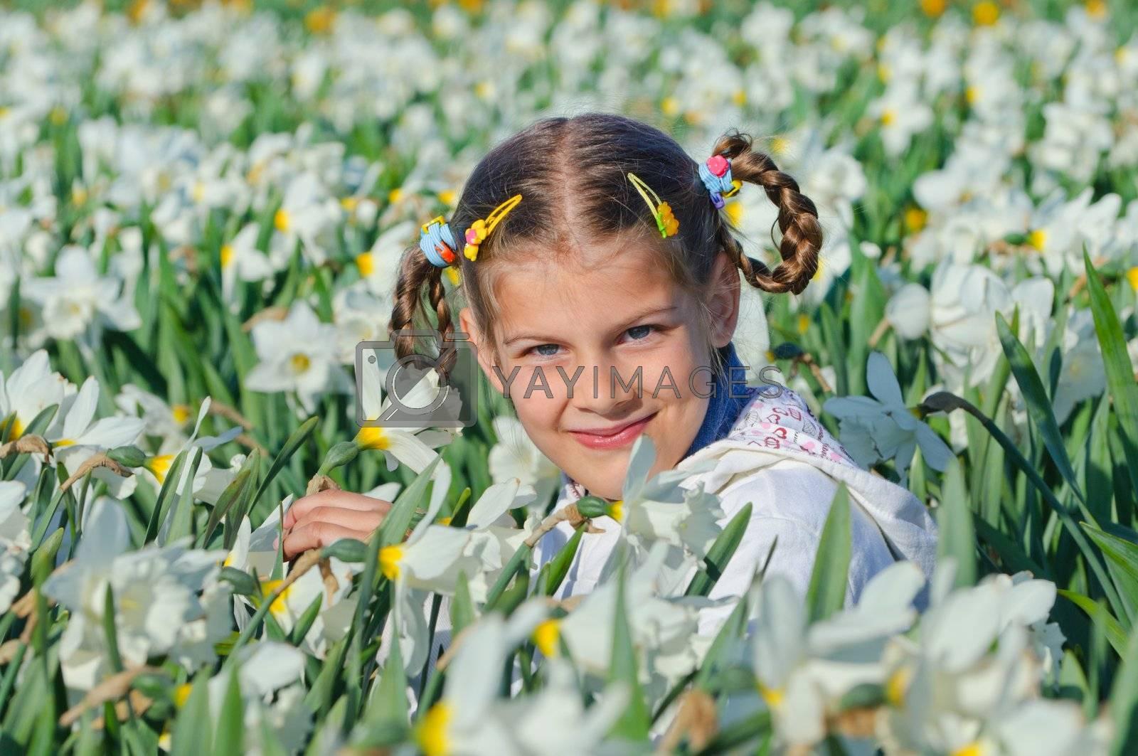 Girl And Daffodils by maxoliki