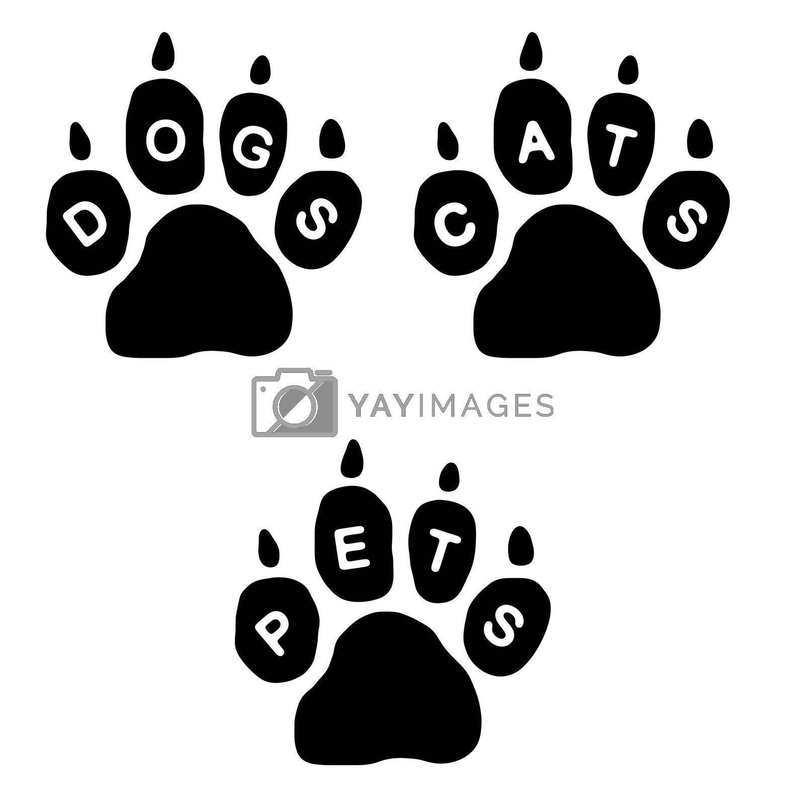 3 paws with the text Dogs, Cats and Pets