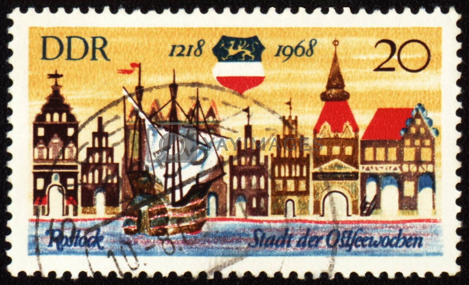 GDR - CIRCA 1968: A stamp printed in GDR (East Germany) devoted to 750th anniversary from origin of german town Rostock, circa 1968