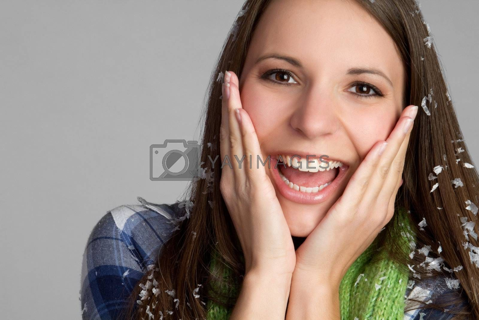 Beautiful smiling cold winter girl