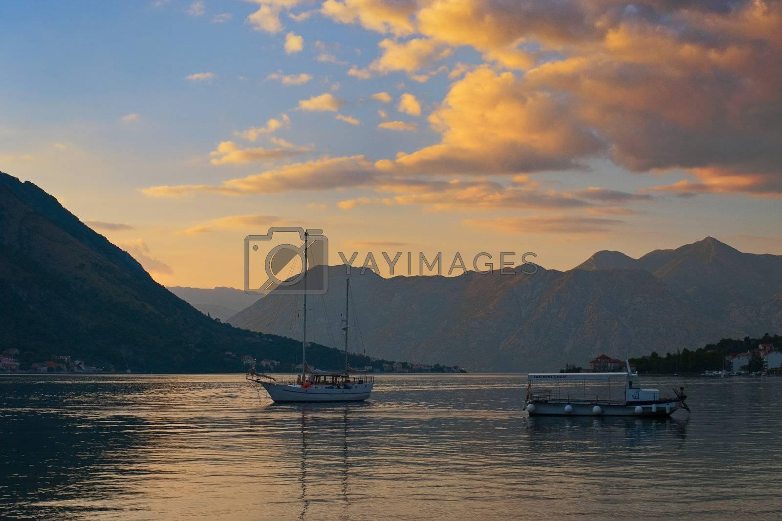 Gorgeous Sunset in the Kotor Bay (Boka Kotorska), Montenegro
