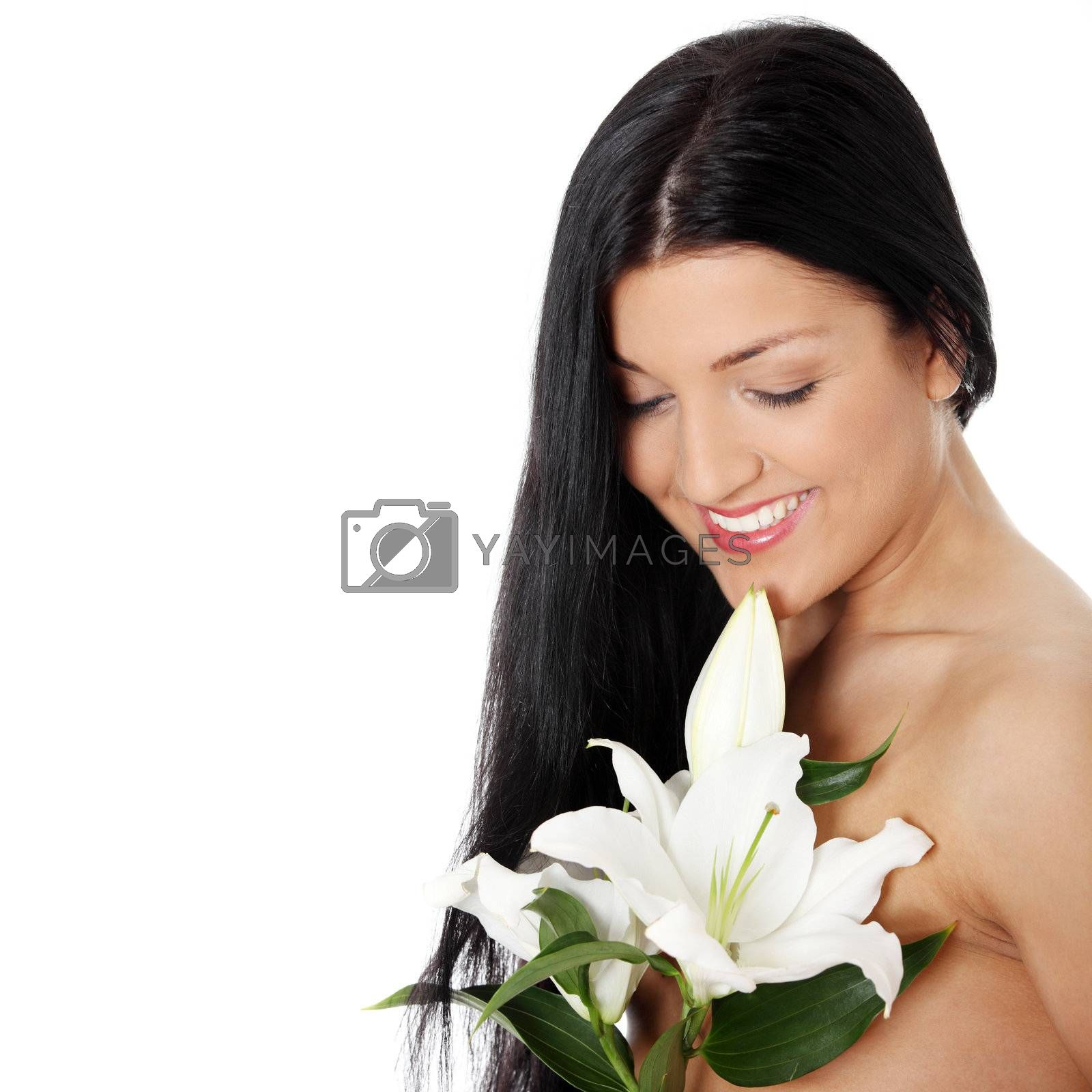 Spa woman with lily flower, isolated on white background