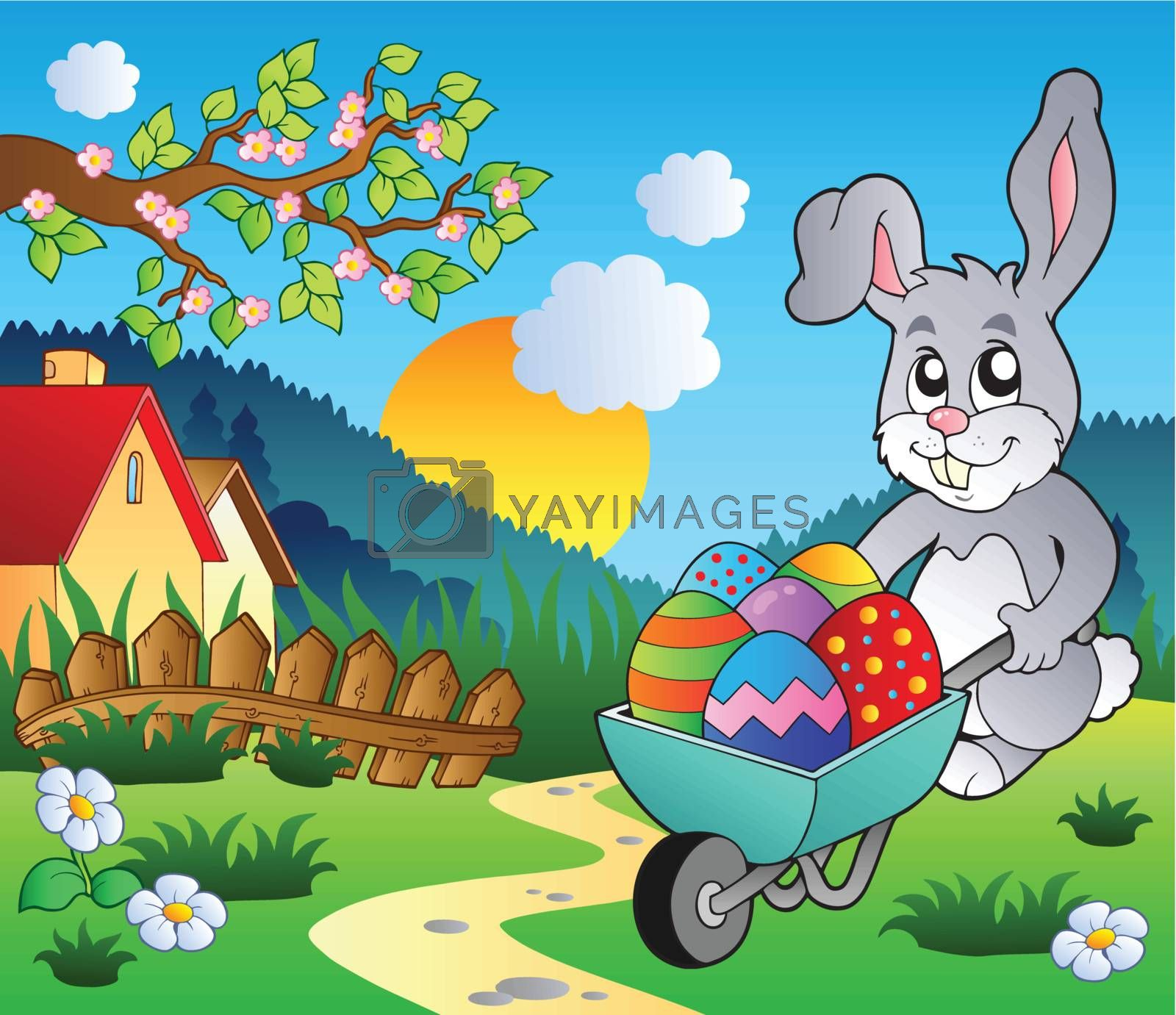 Meadow with bunny and wheelbarrow - vector illustration.