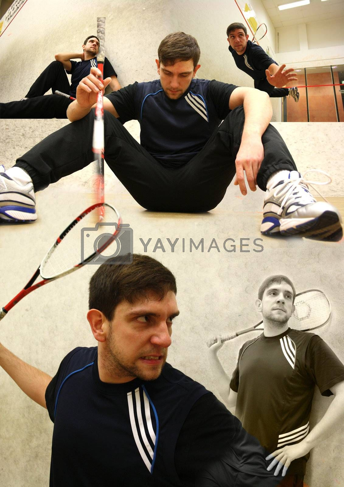 A handsome man playing squash in the hall