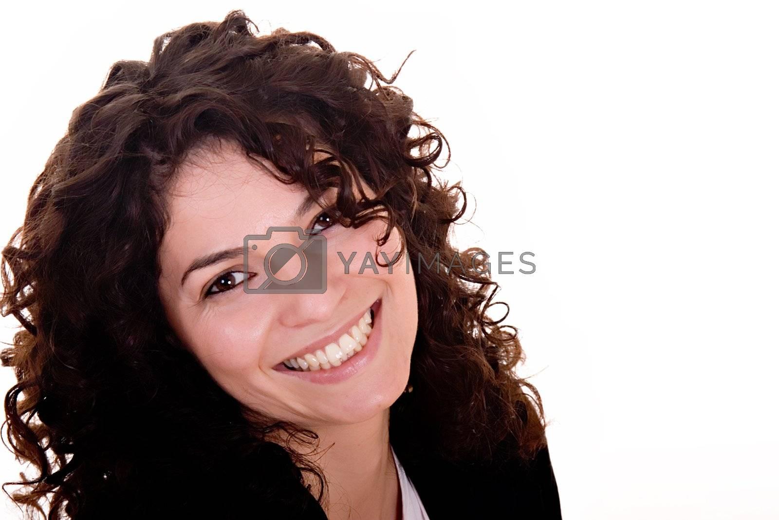 Portrait of beautiful brunette woman smiling.