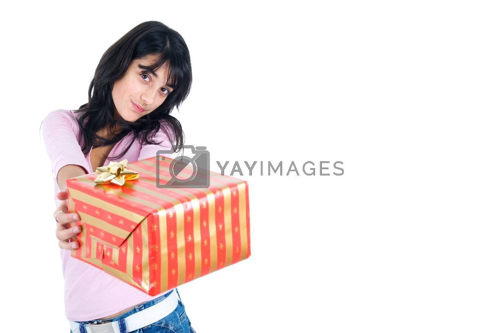 Young woman holding a gift box. Isolated on white with copy space.