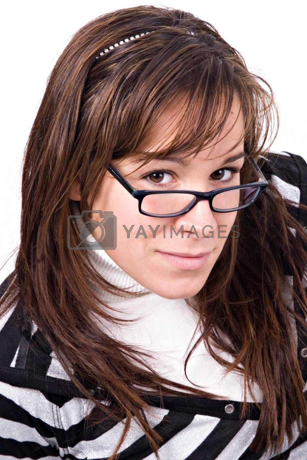 Young woman look over glasses.