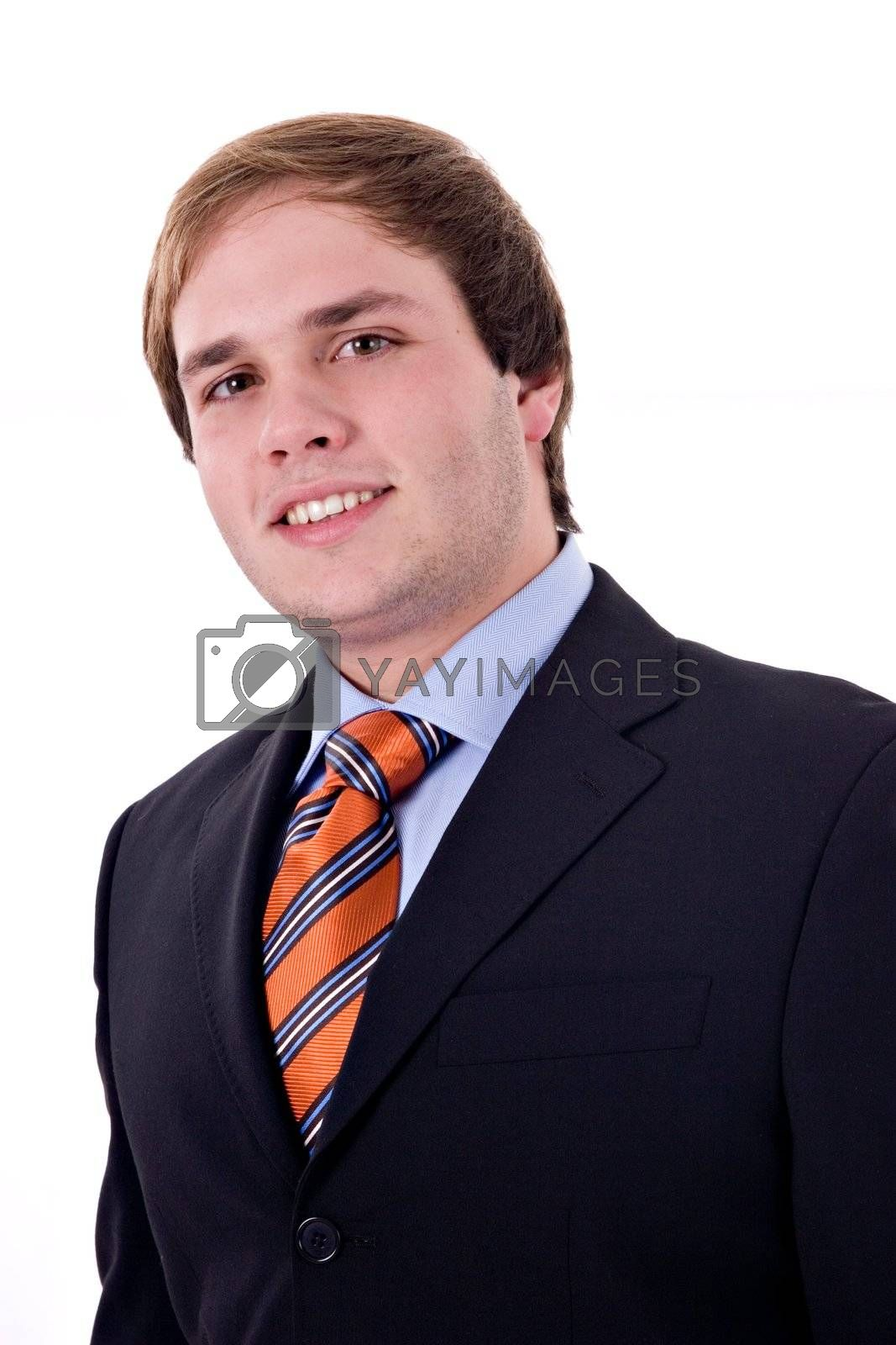 Young businessman smiling. Isolated on white background.