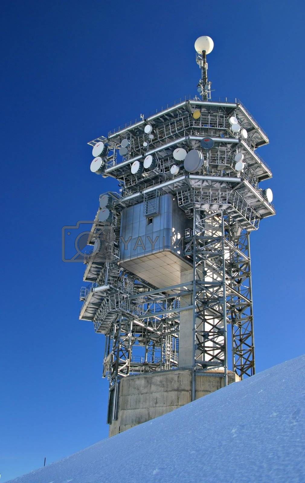 Communication tower on top of mount Titlis, in Switzerland