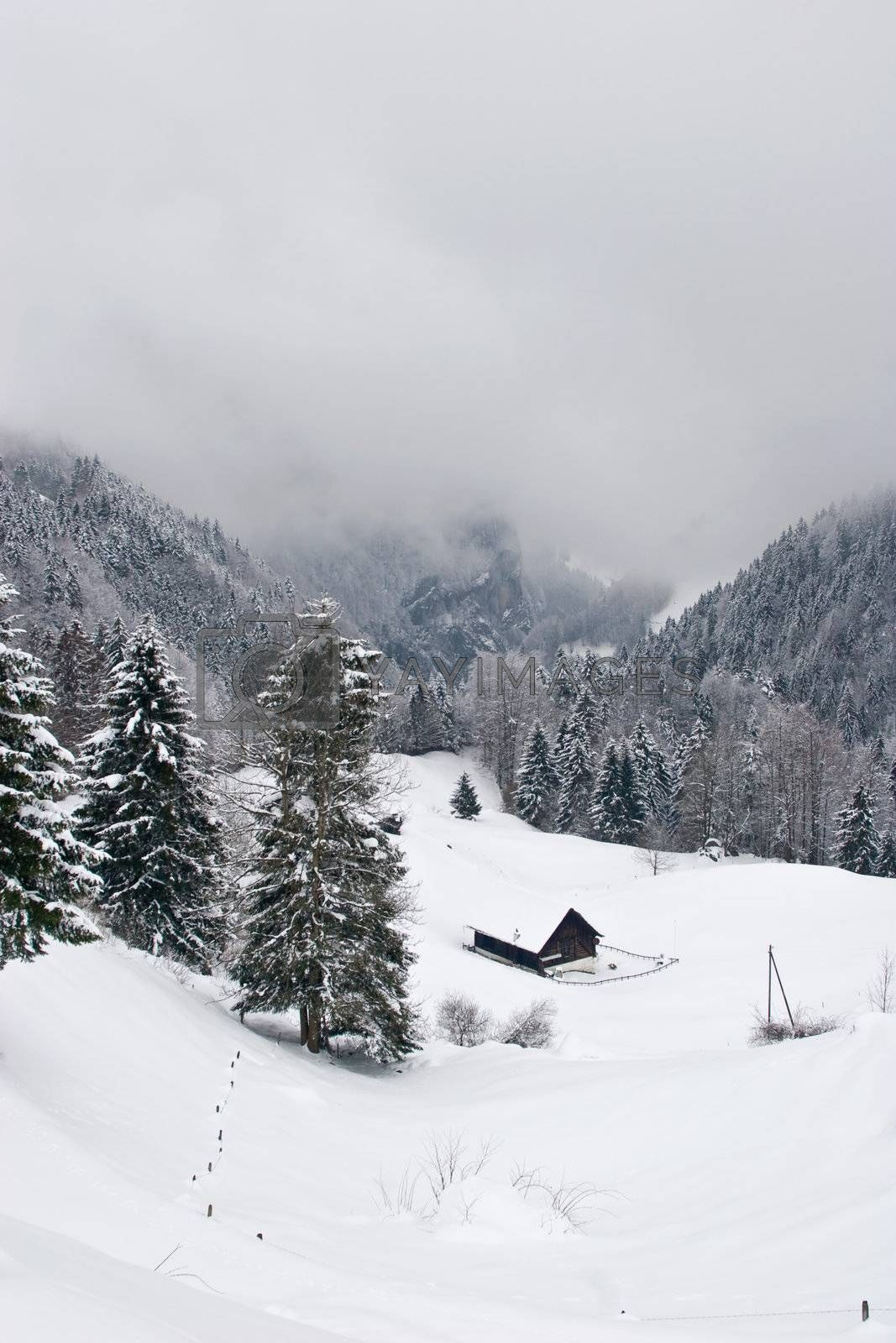 A stormy day in the Swiss alps.