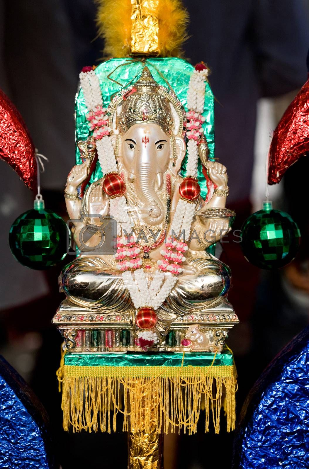 a decorated hindu ganesh deity decorated during thaipusam