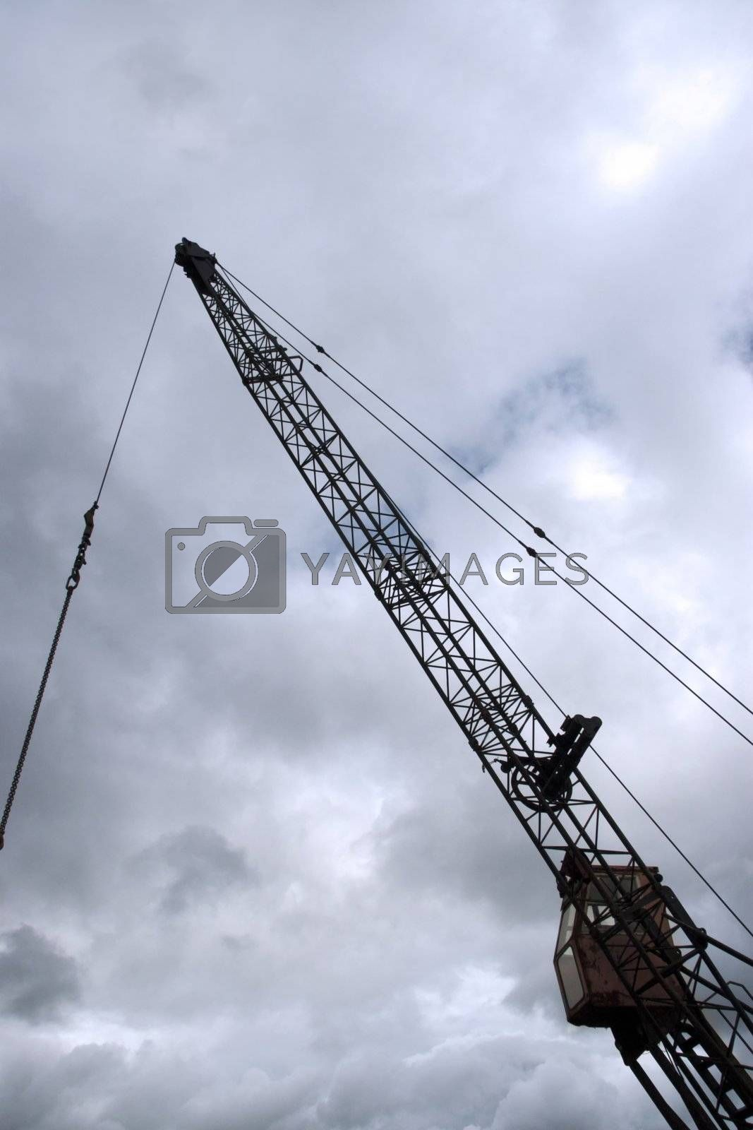 steel crane getting ready to load goods