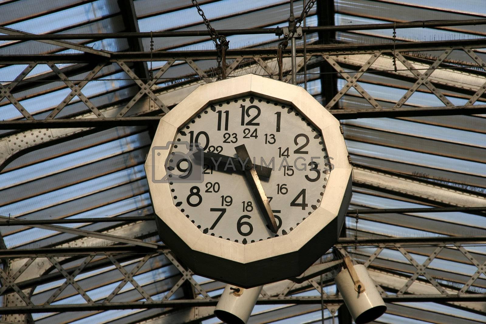 Railway station clock in Paris. Gare de L'Est.