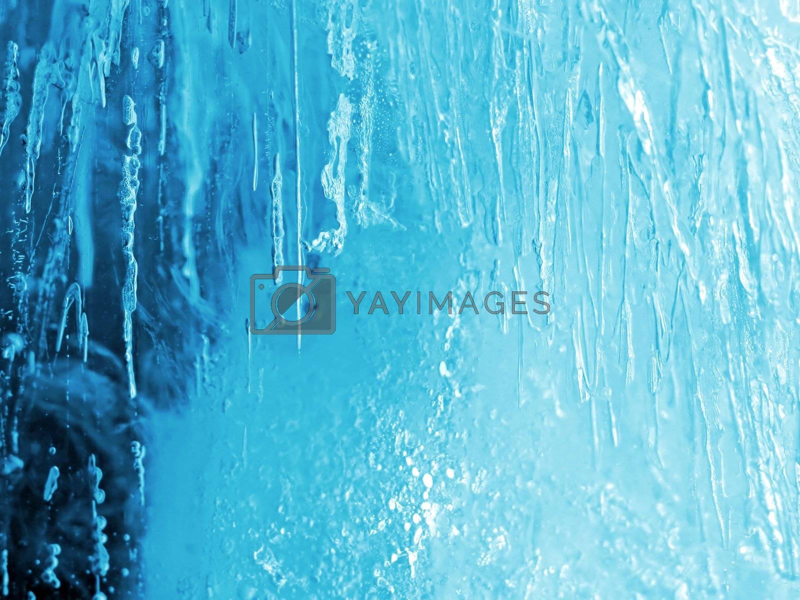 closeup of natural blue ice